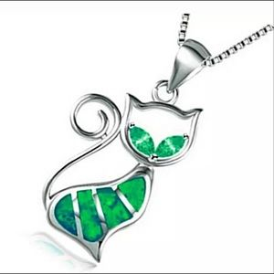 Jewelry - Women's Fashion 925 Silver Green Cat Necklace